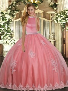 Coral Red Tulle Backless Halter Top Sleeveless Floor Length 15 Quinceanera Dress Beading and Appliques