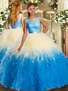 Colorful Floor Length Backless Sweet 16 Dress Multi-color for Sweet 16 and Quinceanera with Lace and Ruffles