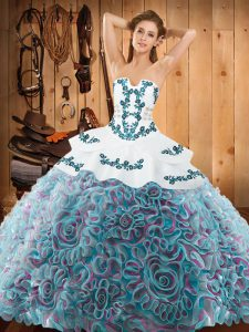 Beautiful Sleeveless Sweep Train Lace Up With Train Embroidery Sweet 16 Dress
