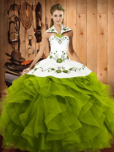 Admirable Floor Length Olive Green Sweet 16 Dress Tulle Sleeveless Embroidery and Ruffles