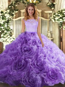 Decent Lavender Fabric With Rolling Flowers Zipper Scoop Sleeveless Floor Length Sweet 16 Dresses Lace