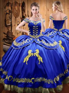 Fashion Floor Length Ball Gowns Sleeveless Royal Blue Vestidos de Quinceanera Lace Up