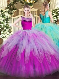 Multi-color Sleeveless Floor Length Beading and Ruffles Zipper Quinceanera Gowns