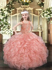 Best Floor Length Pink Little Girls Pageant Dress Organza Sleeveless Beading and Ruffles