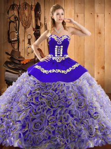 Great Multi-color Satin and Fabric With Rolling Flowers Lace Up Quinceanera Gown Sleeveless With Train Sweep Train Embroidery