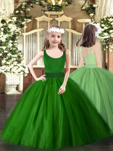 Sleeveless Beading Zipper Little Girls Pageant Dress