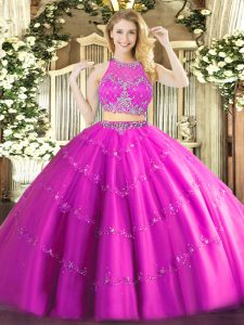 Ideal Fuchsia Vestidos de Quinceanera Military Ball and Sweet 16 and Quinceanera with Beading Scoop Sleeveless Zipper