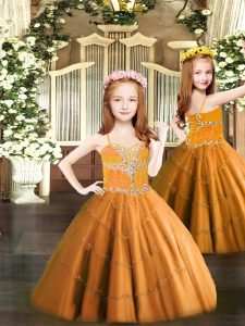 Low Price Orange Tulle Lace Up Spaghetti Straps Sleeveless Floor Length Kids Pageant Dress Beading