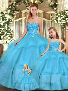Hot Selling Sleeveless Lace Up Floor Length Beading and Ruffled Layers 15th Birthday Dress
