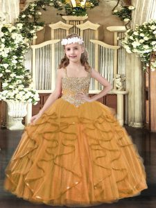 Dazzling Sleeveless Beading and Ruffles Lace Up Little Girls Pageant Gowns