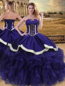 Purple Quinceanera Dresses Sweet 16 and Quinceanera with Beading and Ruffles Sweetheart Sleeveless Lace Up