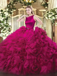 Fuchsia Sleeveless Fabric With Rolling Flowers Clasp Handle Quinceanera Gown for Military Ball and Sweet 16 and Quinceanera