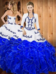 Most Popular Floor Length Lace Up 15 Quinceanera Dress Blue And White for Military Ball and Sweet 16 and Quinceanera with Embroidery and Ruffles