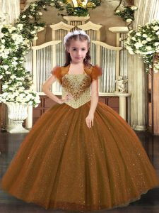 Tulle Sleeveless Floor Length Little Girl Pageant Gowns and Beading
