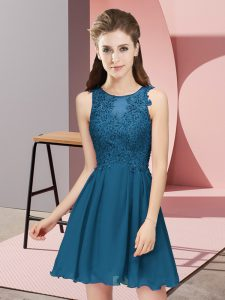 Discount Teal Zipper Scoop Appliques Quinceanera Court of Honor Dress Chiffon Sleeveless