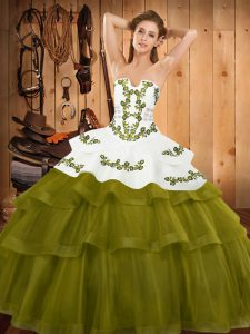 Luxury Olive Green Lace Up Strapless Embroidery and Ruffled Layers Sweet 16 Dress Tulle Sleeveless Sweep Train