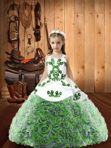Fabric With Rolling Flowers Straps Sleeveless Lace Up Embroidery and Ruffles Little Girls Pageant Gowns in Multi-color