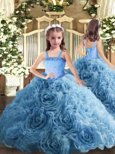 Sleeveless Lace Up Floor Length Appliques Little Girls Pageant Dress