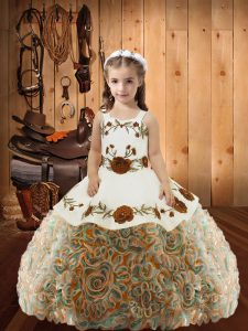 Embroidery and Ruffles Pageant Gowns For Girls Multi-color Lace Up Sleeveless Floor Length