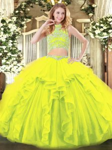 Yellow Green Two Pieces Beading and Ruffles Quinceanera Dresses Backless Tulle Sleeveless Floor Length