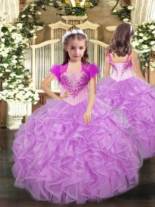 Super Straps Sleeveless Lace Up Custom Made Pageant Dress Lilac Organza