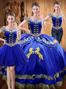 Embroidery Sweet 16 Quinceanera Dress Royal Blue Lace Up Sleeveless Floor Length