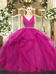 Fuchsia Tulle Zipper V-neck Sleeveless Floor Length Quinceanera Gowns Beading and Ruffles