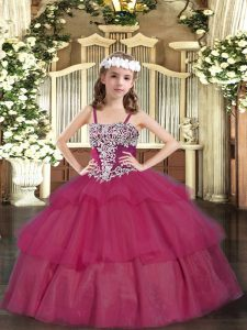 Latest Wine Red Sleeveless Appliques and Ruffled Layers Floor Length Pageant Gowns For Girls