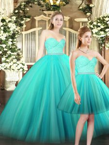 Customized Sweetheart Sleeveless Lace Up Vestidos de Quinceanera Aqua Blue Tulle