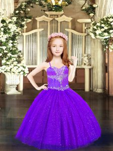Stunning Purple Sleeveless Tulle Lace Up Pageant Gowns For Girls for Party and Quinceanera