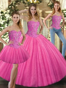 Hot Pink Sweetheart Lace Up Beading 15th Birthday Dress Sleeveless