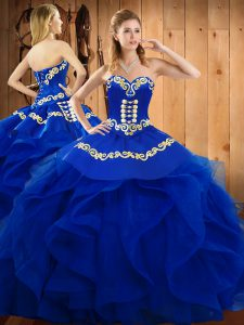 Dynamic Organza Sweetheart Sleeveless Lace Up Embroidery and Ruffles Sweet 16 Quinceanera Dress in Blue