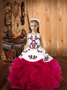 Sleeveless Lace Up Floor Length Embroidery and Ruffles Little Girls Pageant Gowns