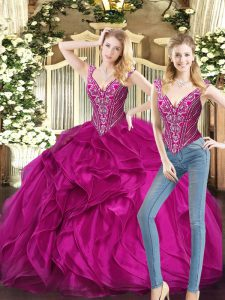 Sexy Fuchsia Lace Up V-neck Ruffles Quinceanera Dress Organza Sleeveless