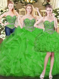 Floor Length Green Quince Ball Gowns Tulle Sleeveless Beading and Ruffles