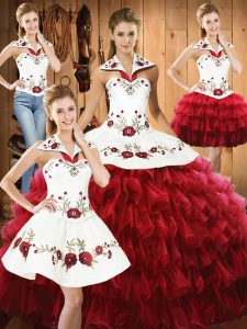 Deluxe Wine Red Sweet 16 Dresses Military Ball and Sweet 16 and Quinceanera with Embroidery and Ruffled Layers Halter Top Sleeveless Lace Up
