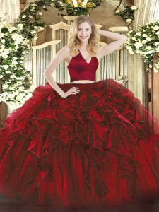 Custom Design Wine Red Zipper Sweet 16 Dress Ruffles Sleeveless Floor Length