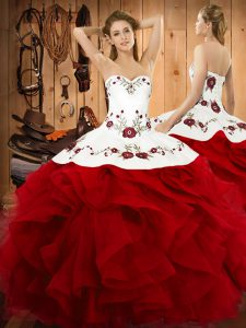 Ideal Ball Gowns Sweet 16 Quinceanera Dress Wine Red Halter Top Satin and Organza Sleeveless Floor Length Lace Up