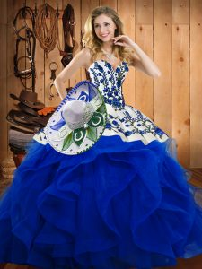 Floor Length Blue 15th Birthday Dress Satin and Organza Sleeveless Embroidery and Ruffles