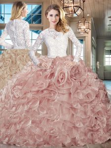 Champagne Scoop Lace Up Beading and Ruffles Sweet 16 Dresses Brush Train Long Sleeves