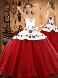 Hot Sale Floor Length Ball Gowns Sleeveless Wine Red Quinceanera Gowns Lace Up