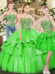 Tulle Sleeveless Floor Length Quinceanera Dress and Beading and Ruffled Layers