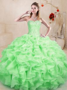 High End Apple Green Sleeveless Floor Length Beading and Ruffles Lace Up 15th Birthday Dress