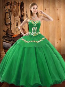 Floor Length Green Ball Gown Prom Dress Satin and Tulle Sleeveless Embroidery