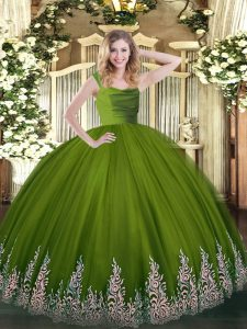 Exquisite Tulle Sleeveless Floor Length Sweet 16 Dress and Lace and Appliques
