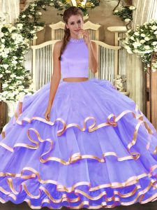 Lavender Sleeveless Beading and Ruffled Layers Floor Length Sweet 16 Quinceanera Dress