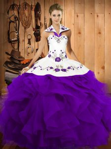 Purple Tulle Lace Up Halter Top Sleeveless Floor Length Quinceanera Gowns Embroidery and Ruffles