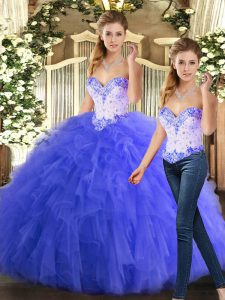 Two Pieces Quinceanera Dresses Blue Sweetheart Organza Sleeveless Floor Length Lace Up