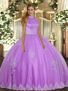 Comfortable Tulle Sleeveless Floor Length Quinceanera Dresses and Beading and Appliques