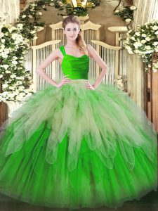 Floor Length Multi-color Sweet 16 Dress Organza Sleeveless Ruffles